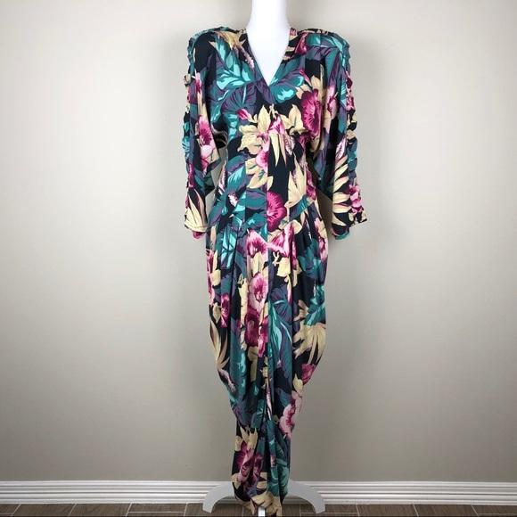 J. Harris Dresses & Skirts - J. HARRIS | Vintage 80s Floral Draped Corset Waist